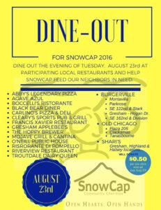 snowcap dine out  2016